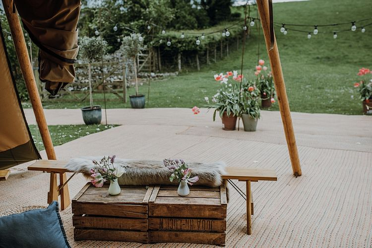 Florals by Mother of the Bride at Abundance Flowers and The Real Flower Company. Tipi Wedding at Home, Cumbria. Pale Dusky Pink, White and Mocha Flowers, Handwritten Details and Festoon Lights. Bride wears Essence of Australia Dress from Angelica Bridal. Groom wears Olive Next Suit and Tan Office Shoes.