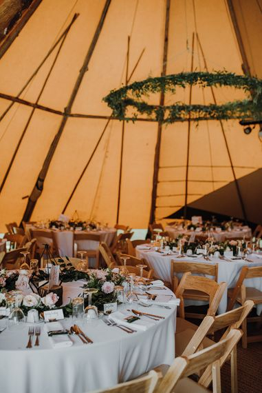 Catering by David Dunderdale. Tipi Wedding at Home, Cumbria. Pale Dusky Pink, White and Mocha Flowers, Handwritten Details and Festoon Lights. Bride wears Essence of Australia Dress from Angelica Bridal. Groom wears Olive Next Suit and Tan Office Shoes.