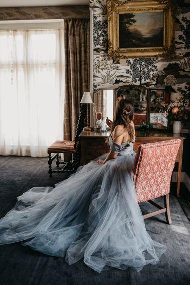 Bride in Tulle Custom Made Blue Claire La Faye Wedding Dress