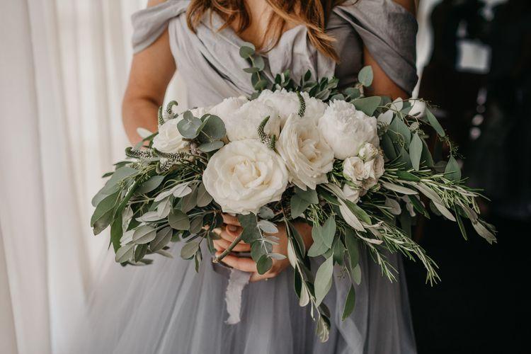 Giant White Rose and Eucalyptus Wedding Bouquet