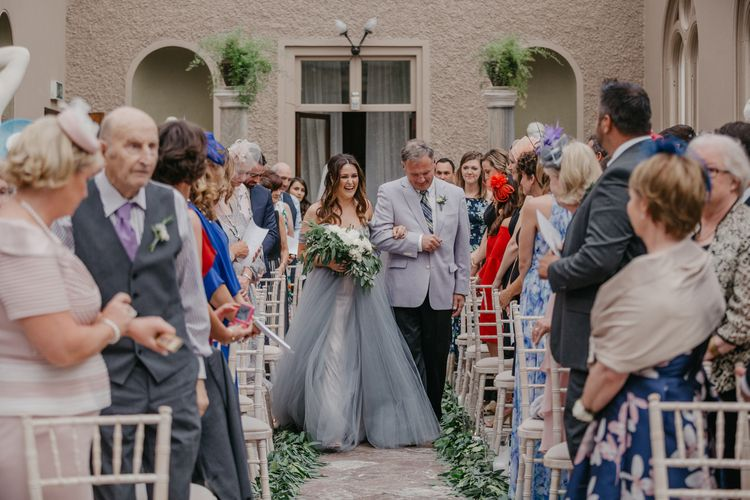 Wedding Ceremony Bridal Entrance  in Tulle Custom Made Blue Claire La Faye Wedding Dress