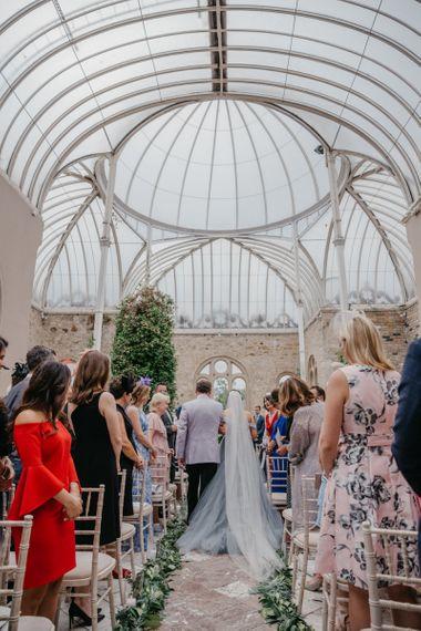 Orangery Wedding Ceremony Bride  in Tulle Custom Made Blue Claire La Faye Wedding Dress