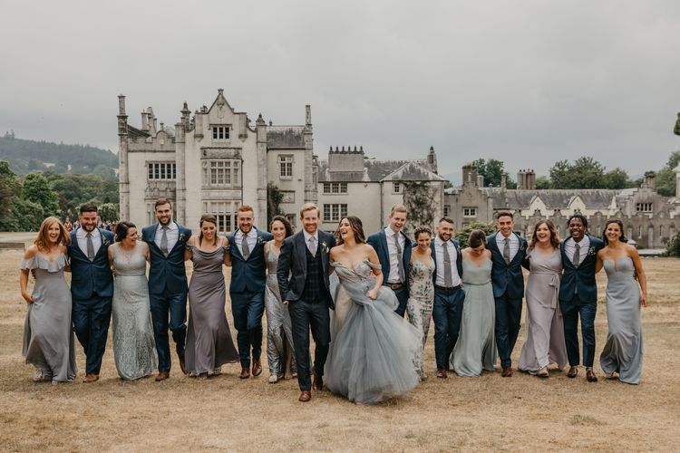 Wedding Party Portrait in Grey and Blue Ombre Tones