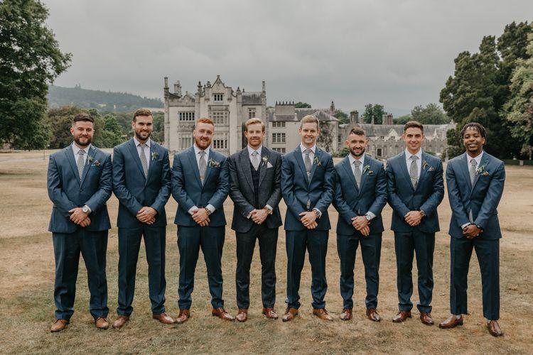 Groomsmen Blue Wool Suits and Brown Brogues