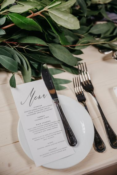 Elegant Place Setting with Calligraphy Menu Card