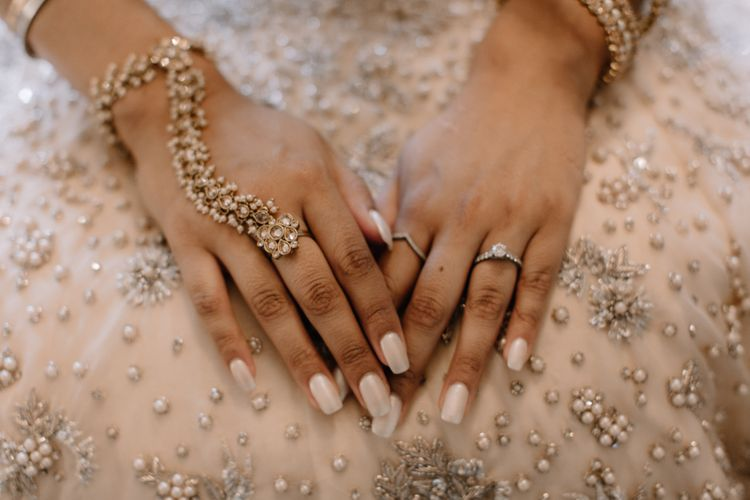Wedding day nails and hand jewellery