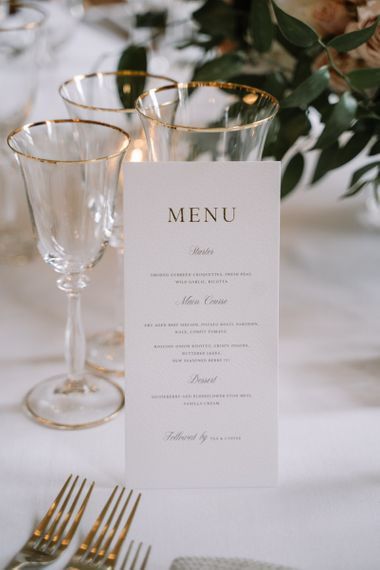 Menu card for Aynhoe Park wedding