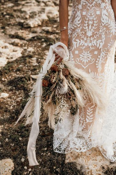 dried flower, pampas grass and foliage wedding bouquet for Mallorca elopement