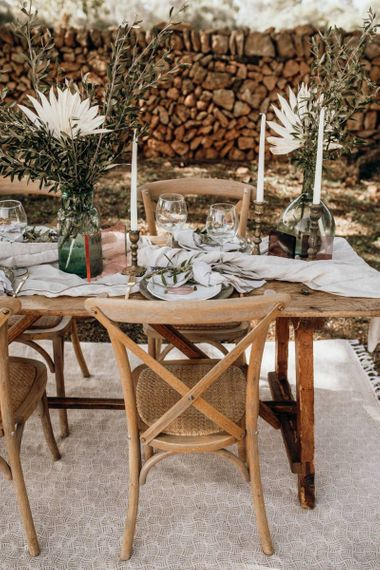 Wooden chairs for intimate wedding