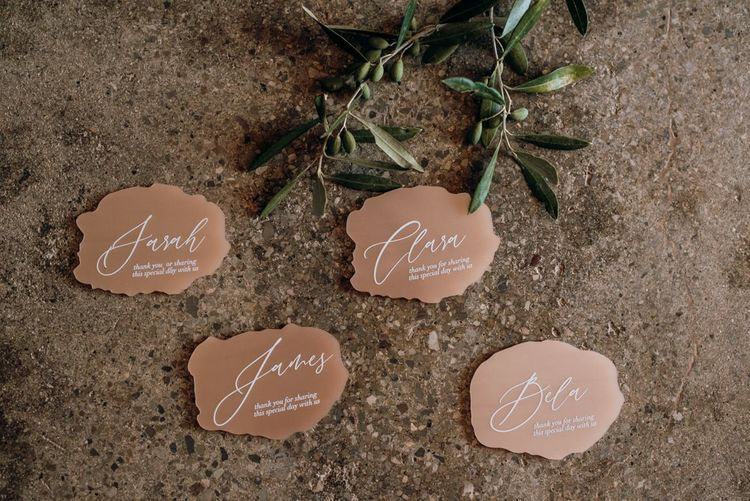 acrylic name place cards for Mallorca elopement
