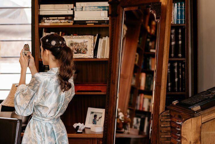 Bridal Up Do with Brooches in Her Hair | Wedding Morning Bridal Preparations | Malaga Destination Wedding | Sara Lobla Photography | Un Par de Medias Film