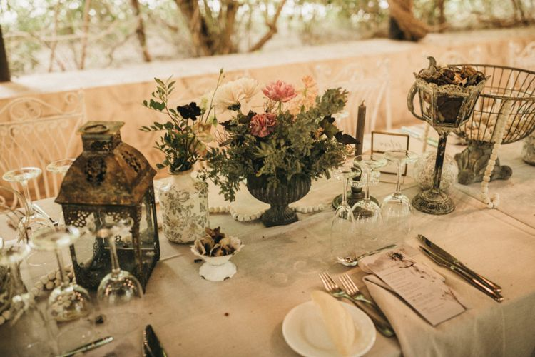 Wedding table decor with blush flowers