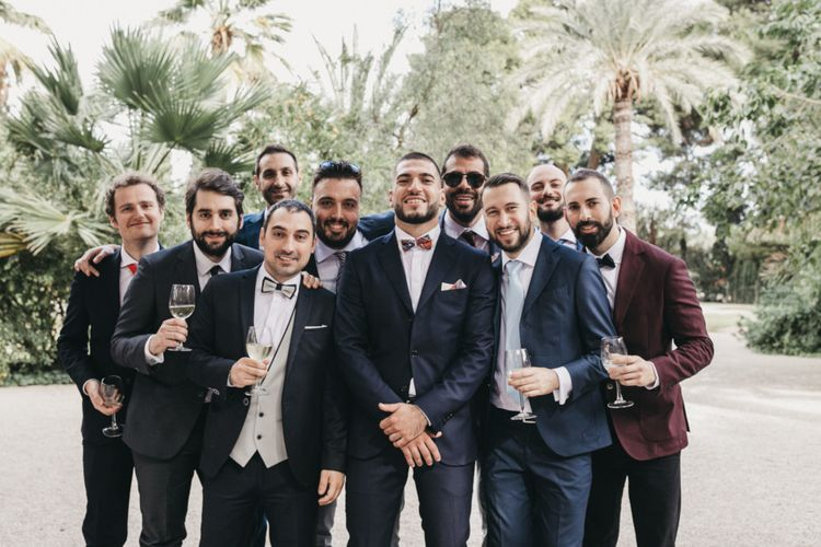 Groom with groomsmen in bowties