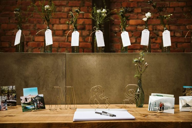 Guest Table with Wire Letters, Pictures and Bottle Table Plan