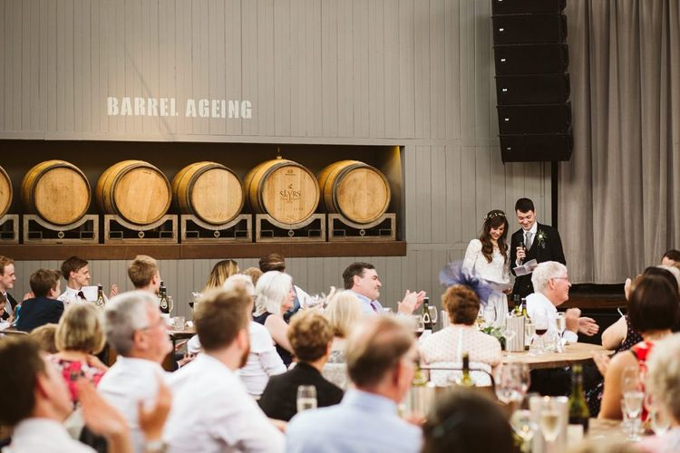 Bride and Groom Delivering Their Wedding Speech at Wylam Brewery