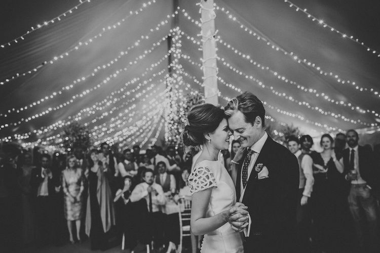 First Dance with Festoon Lighting in Marquee