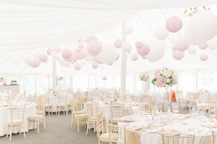 White and Pink Wedding Marquee at Middleton Lodge Image by Sarah Ethan Photography