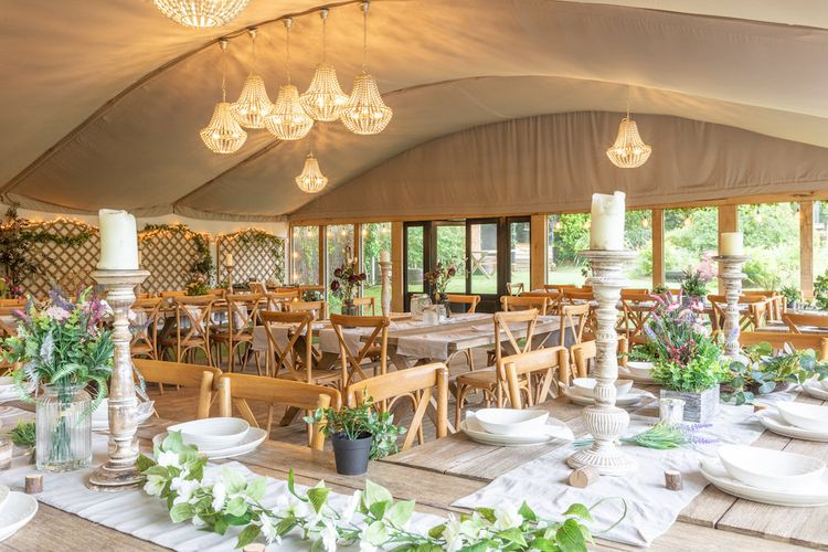 Marquee with Chandelier at The Copse Image by Fiona Murray Photography