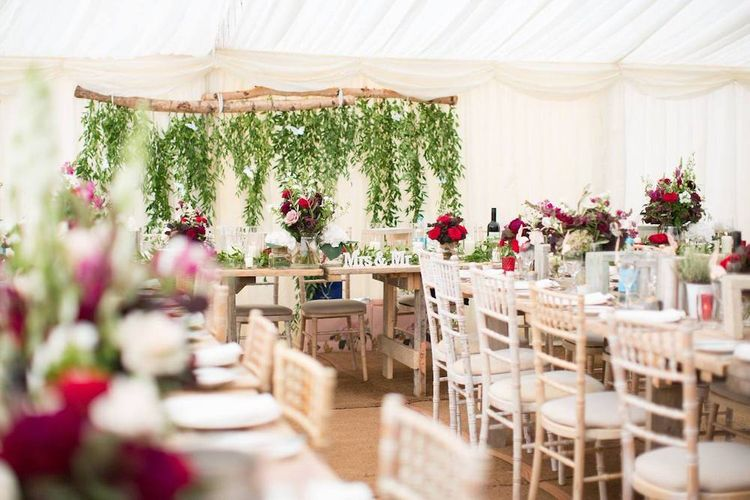 Hanging Foliage Wedding Backdrop by Vibert Marquees