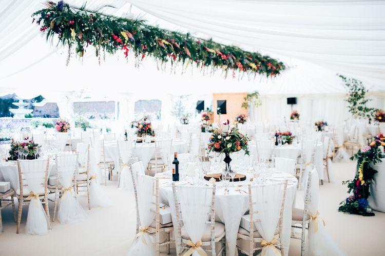 Hanging Flowers Wedding Marquee by Vibert