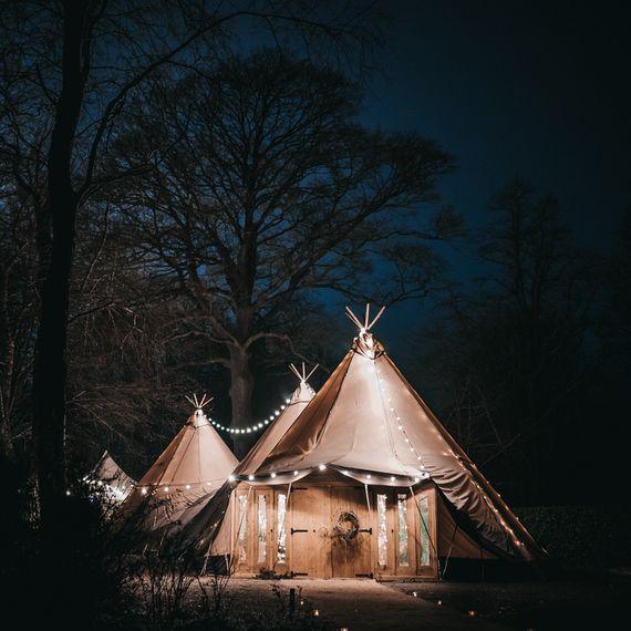 Wedding Tipis with Festoon Lighting by Wild Tipi