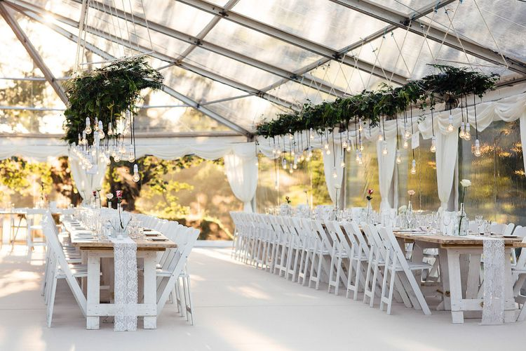 Clear Roof Marquee With Hanging Foliage and Edison Lamps by Hatch Marquee Image by Freckle Photography