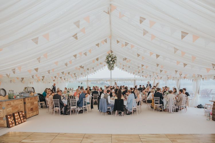 Pleated Marquee Lining and Pink Bunting by Hatch Marquee Image by Kirstin Prisk Photography