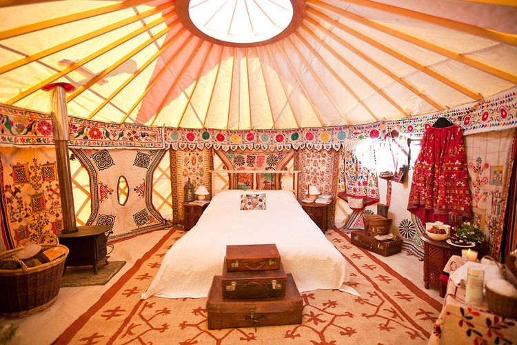Bridal Tent with Wood Burner by Hooes Yurts