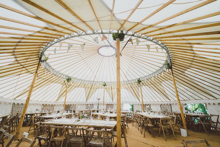 Yurt Tent Long Table Ceremony by Hooes Yurts