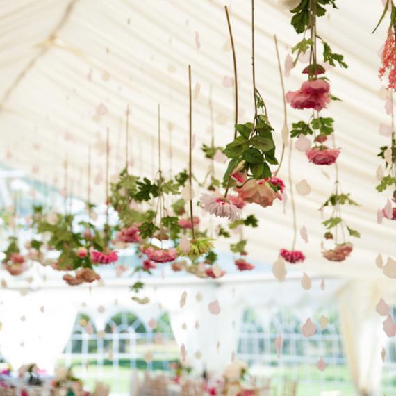 Hanging Rose Installation Wedding at Tournerbury