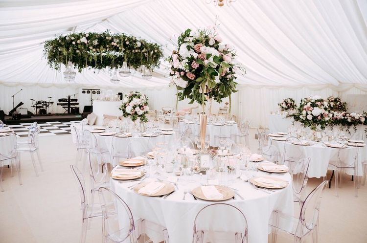 Hanging Flower Hoop and Ghost Chairs in Vibert Marquee