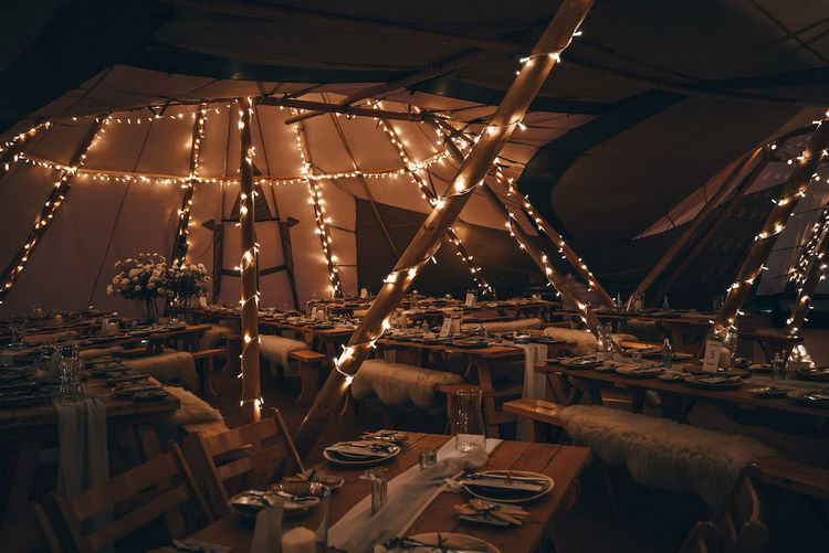 Fairy Light Atmospheric WeddingTipi by Wild Tipi