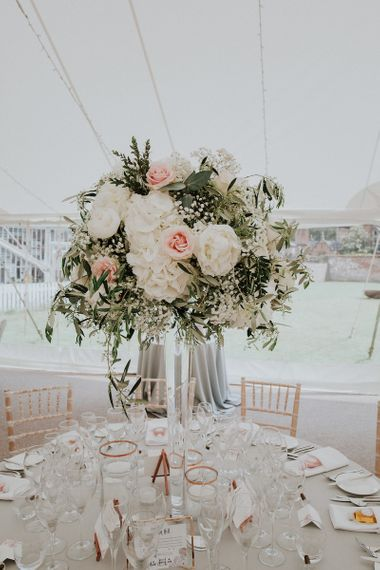 Rose Floral Centrepiece at Dorfold Hall Image by Joasis Photography