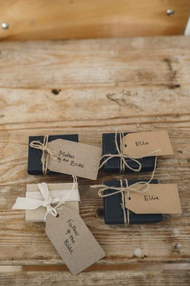 Wedding gifts with luggage tags