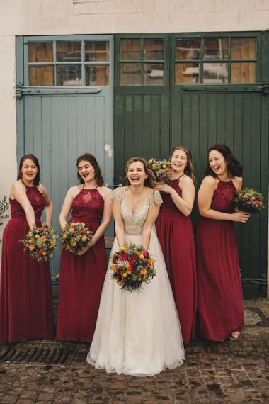 bridal party portrait with former 2014 Great British Bake Off contestant Martha Collinson in a customised Morilee wedding dress