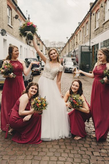 Former 2014 Great British Bake Off contestant Martha Collinson with her bridesmaids