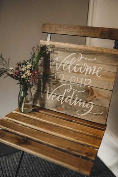 Wooden welcome to our wedding wedding sign