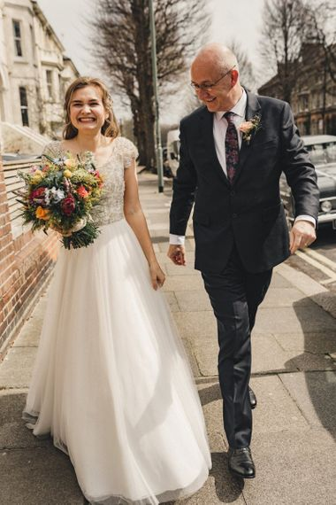 Former 2014 Great British Bake Off contestant Martha Collinson with her father