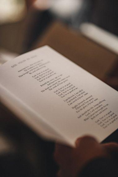 Hymns at religious wedding ceremony