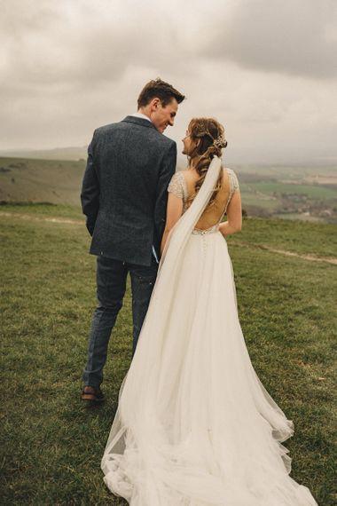 former 2014 Great British Bake Off contestant Martha Collinson  in customised Morilee wedding dress
