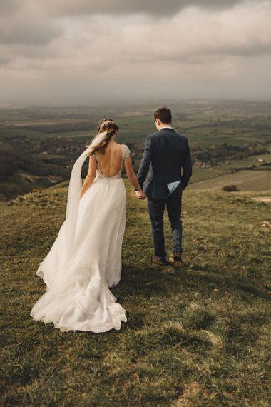 former 2014 Great British Bake Off contestant Martha Collinson in low back Moriilee wedding dress