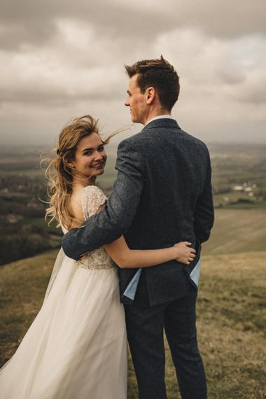 bride and groom in the countryside