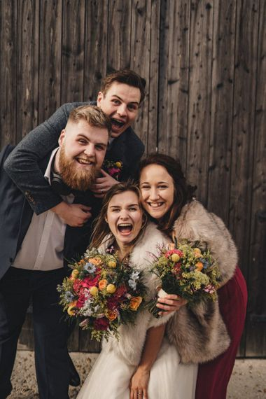 fun wedding portrait with friends by The Chamberlains