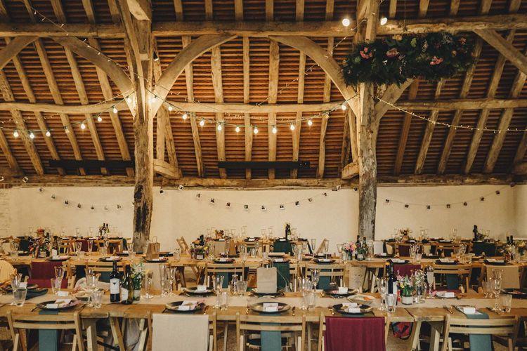 Rustic barn wedding reception for former 2014 Great British Bake Off contestant Martha Collinson