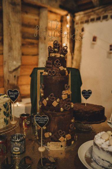 Chocolate explosion cake on bake off dessert table