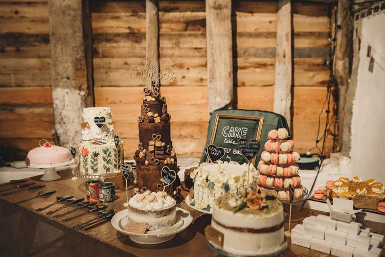 Cake table consisting of cakes from the former 2014 Great British Bake Off contestant