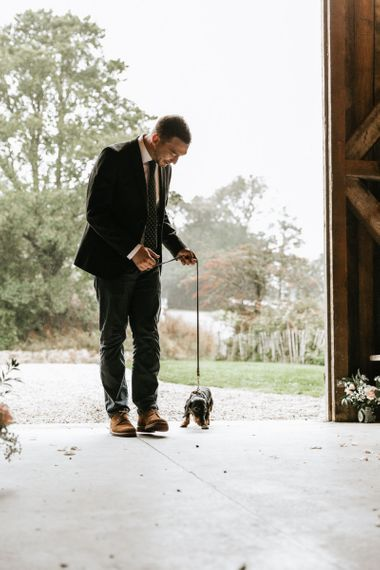 Couples pet at wedding ceremony as ring bearer