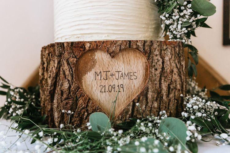 Personalised tree slice cake stand