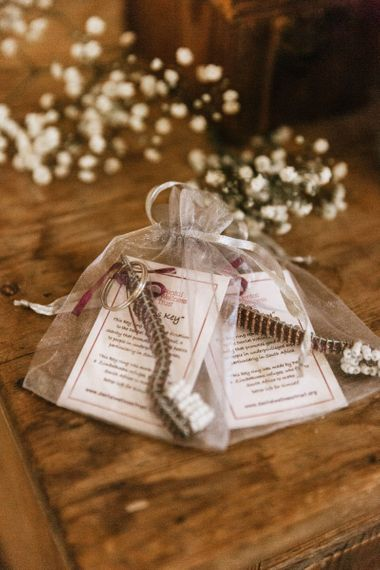 Wedding favours for guests at travel themed wedding