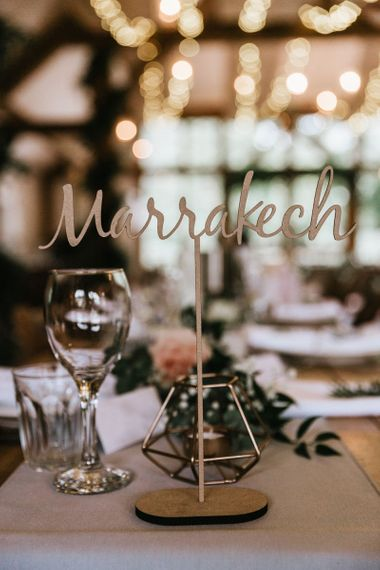 Destination table names for travel themed weddings